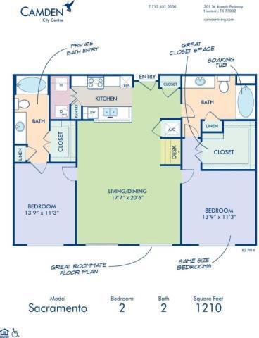 1,210 sq. ft. SACRAMENTO floor plan