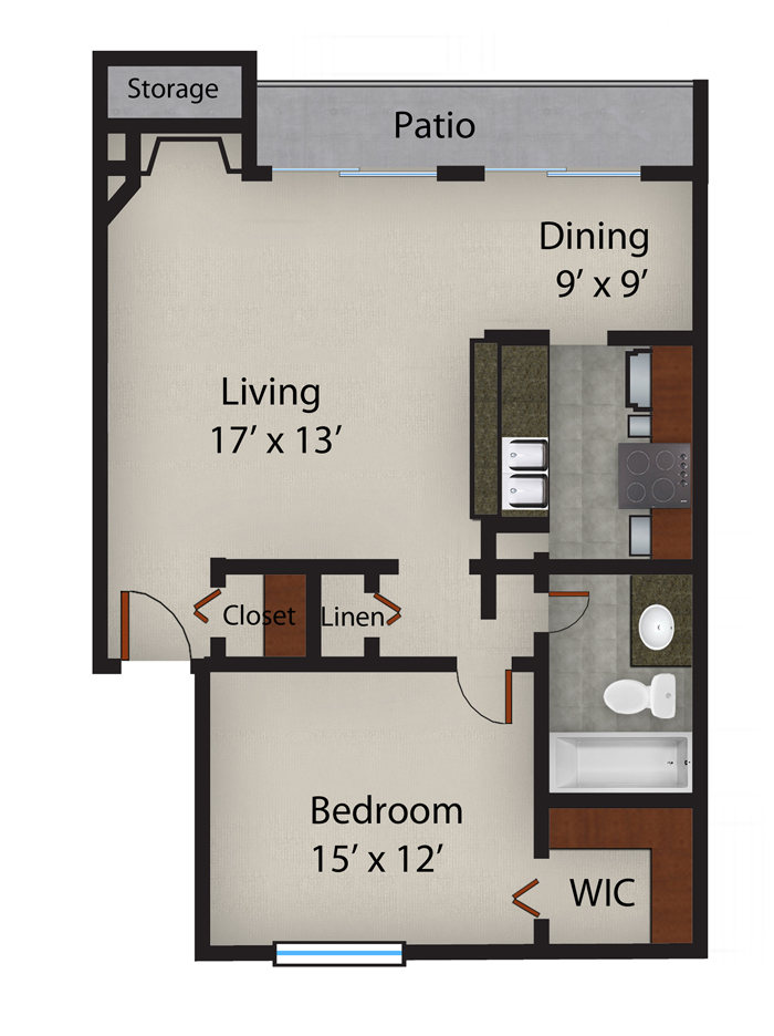 825 sq. ft. Baltic floor plan