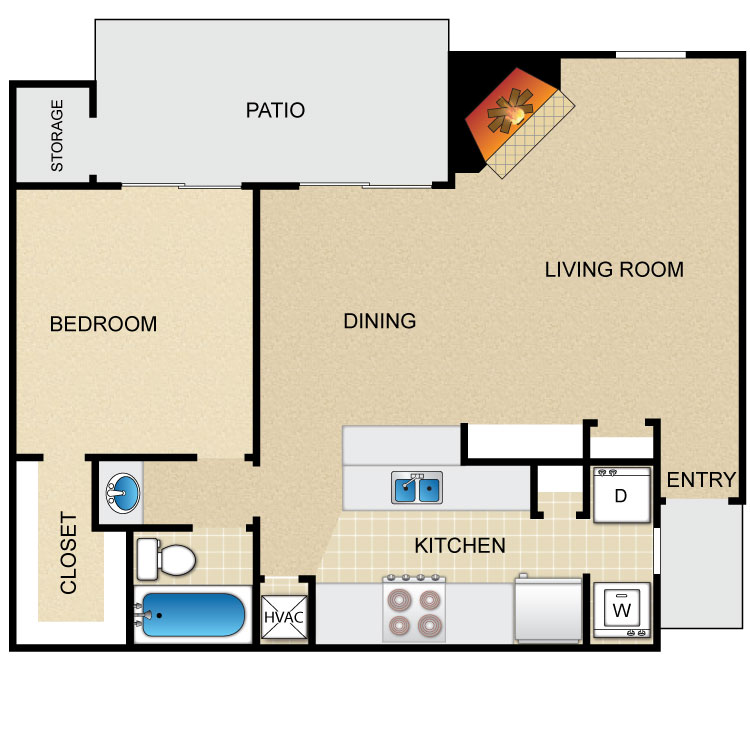 684 sq. ft. floor plan