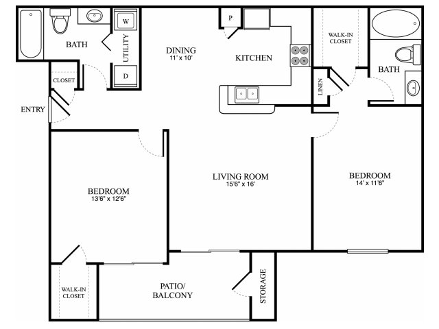 1,054 sq. ft. F floor plan