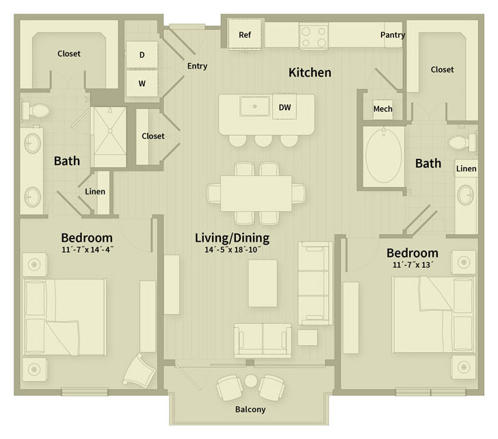 1,210 sq. ft. E2 floor plan