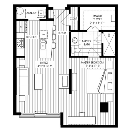 799 sq. ft. A22 floor plan