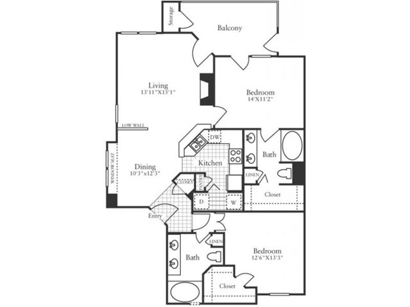 1,118 sq. ft. B3 floor plan