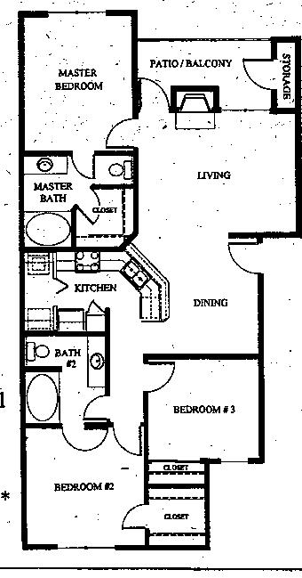 1,180 sq. ft. C1 floor plan