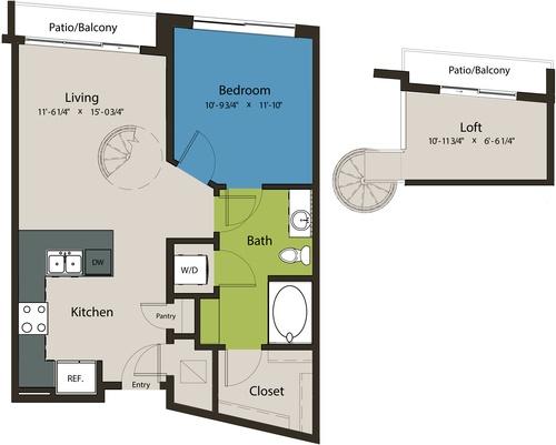 788 sq. ft. A8L-L1 floor plan