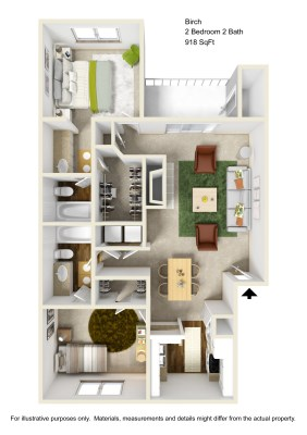918 sq. ft. B2 floor plan