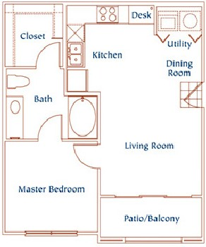 650 sq. ft. A4 floor plan
