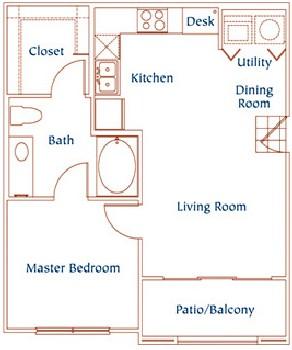 650 sq. ft. A4 floor plan
