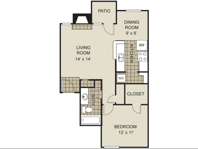 674 sq. ft. A13-C floor plan