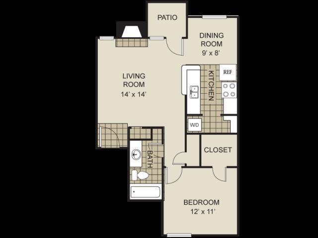 674 sq. ft. A13-C floor plan