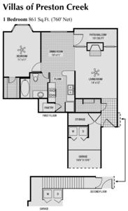 760 sq. ft. A floor plan
