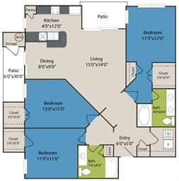 1,353 sq. ft. C1 floor plan