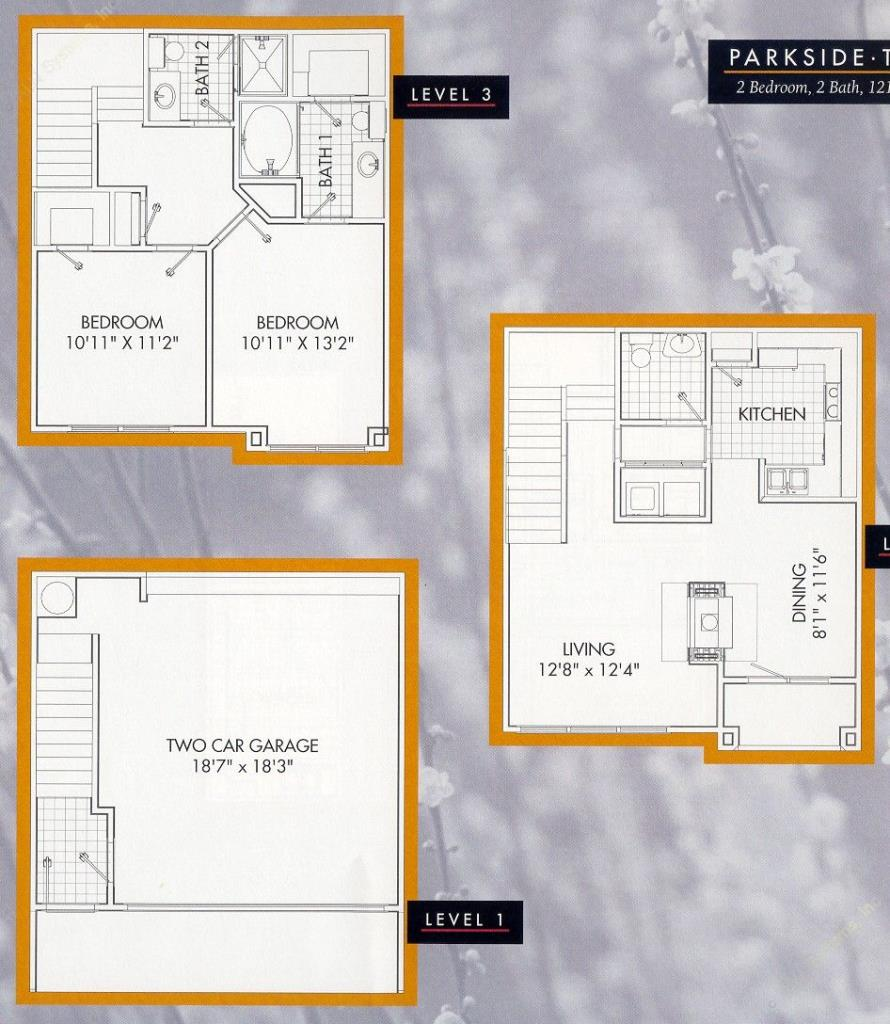 1,211 sq. ft. Parkside B1TH floor plan