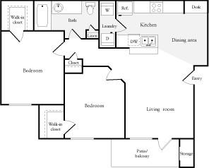 857 sq. ft. floor plan