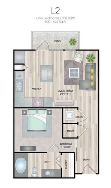 600 sq. ft. to 624 sq. ft. L2 floor plan