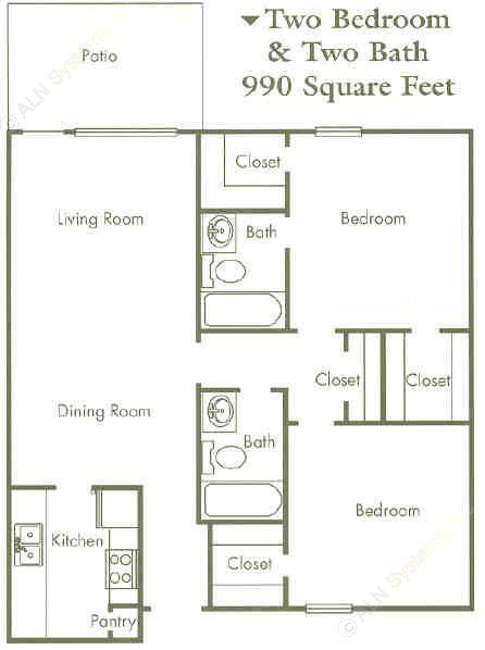 990 sq. ft. 50% floor plan