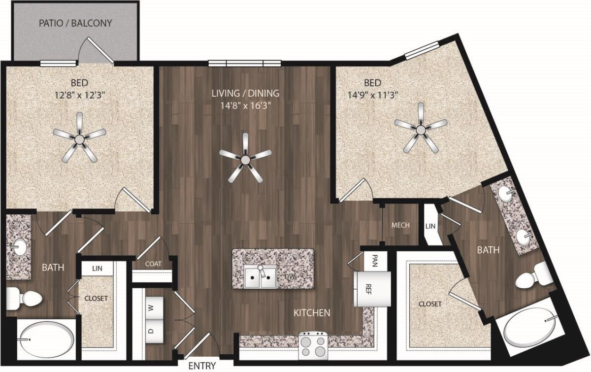 1,164 sq. ft. B4 floor plan