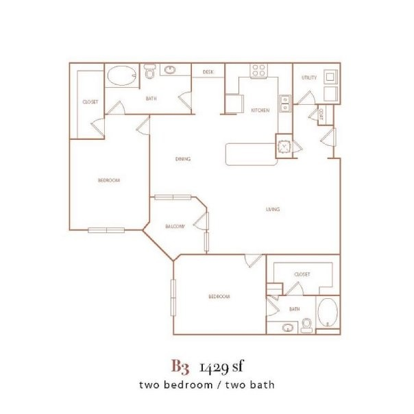 1,429 sq. ft. B3 floor plan