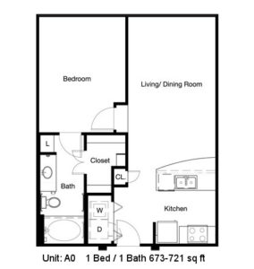 673 sq. ft. to 721 sq. ft. A0 floor plan