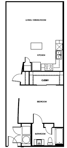 845 sq. ft. 1A6 floor plan
