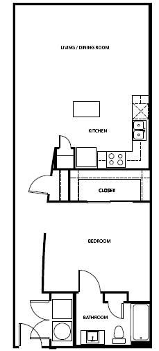 845 sq. ft. A6-L floor plan