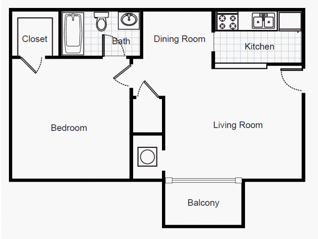 550 sq. ft. A1/80% floor plan