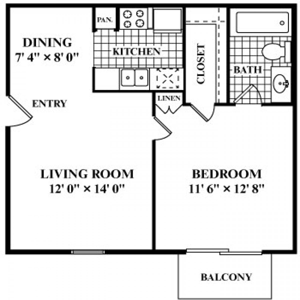 550 sq. ft. to 625 sq. ft. A1-A floor plan