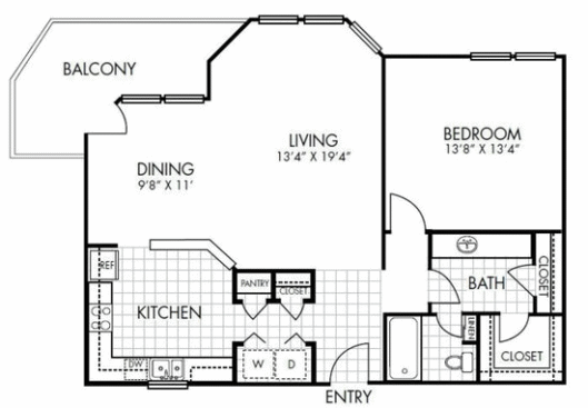 984 sq. ft. A4 floor plan