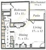 740 sq. ft. Bluebonnet floor plan