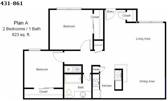 823 sq. ft. to 864 sq. ft. MKT floor plan