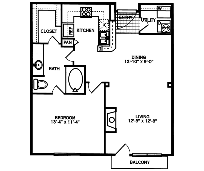 776 sq. ft. LAMAR floor plan