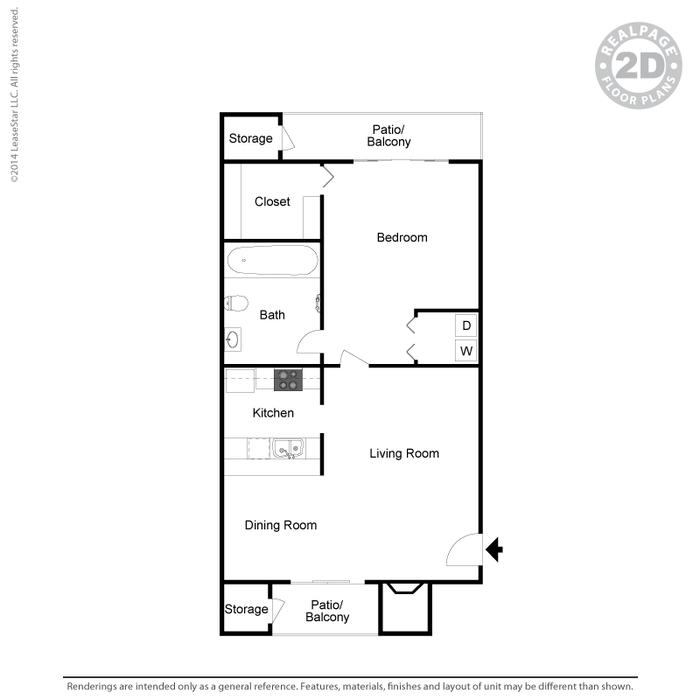 532 sq. ft. A4 floor plan