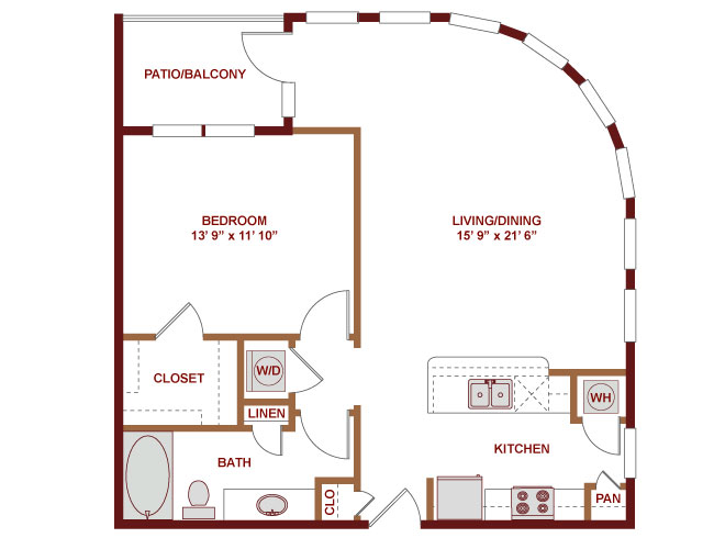 829 sq. ft. A400 floor plan