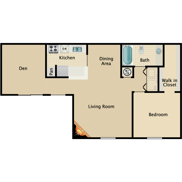 830 sq. ft. A2 floor plan