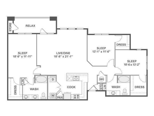 1,606 sq. ft. D7 floor plan