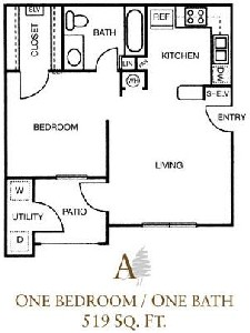 519 sq. ft. A/60% floor plan