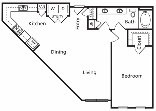 869 sq. ft. B1a floor plan