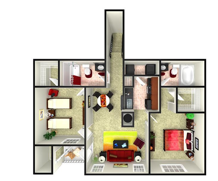 1,107 sq. ft. B3U floor plan