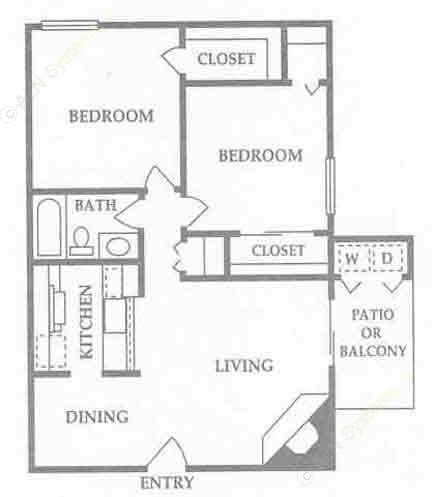 864 sq. ft. B floor plan