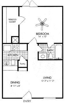607 sq. ft. A4 floor plan