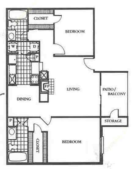 965 sq. ft. Crestview floor plan
