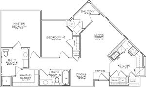 966 sq. ft. Florence 30% floor plan