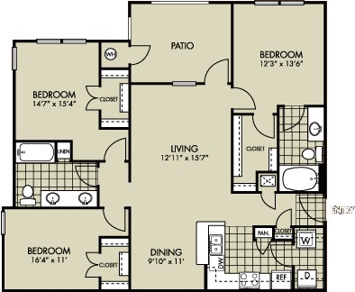 1,296 sq. ft. AZALEA floor plan