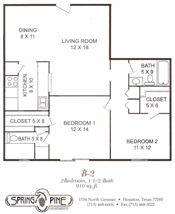 910 sq. ft. B2 floor plan