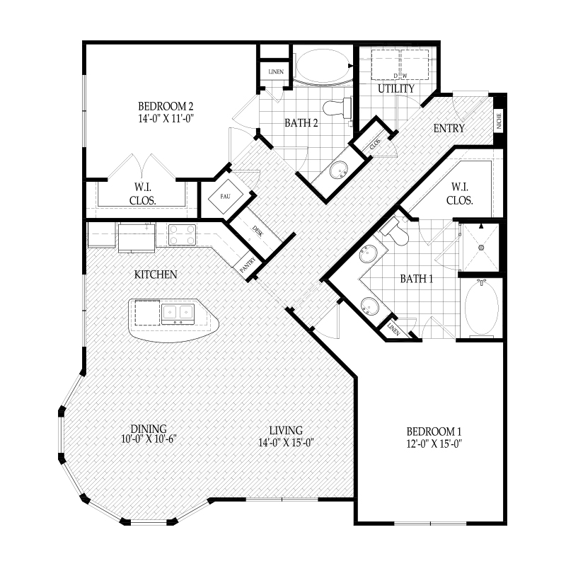 1,361 sq. ft. C4A Warhol Alt 1 floor plan