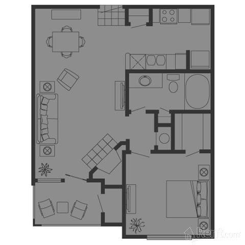 678 sq. ft. A floor plan