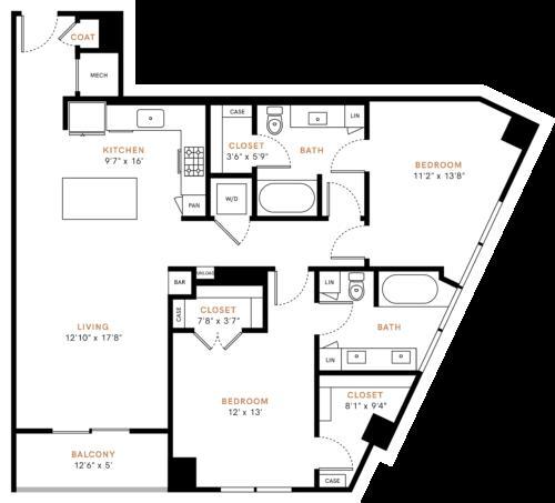 1,253 sq. ft. B2 floor plan