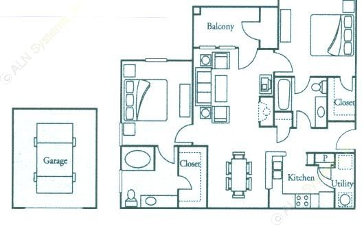 1,078 sq. ft. B2 Cedar floor plan