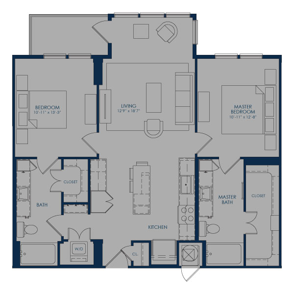 1,091 sq. ft. B36C floor plan