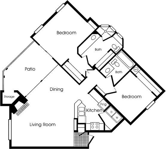 1,081 sq. ft. 2B2 floor plan